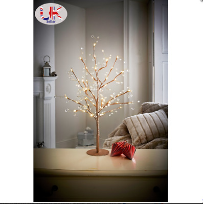 70cm Pre-Lit Jewelled Glitter Twig Tree Silver & Gold Christmas Decorations