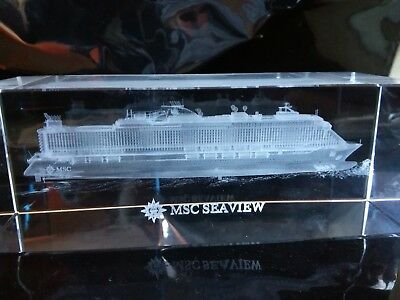 Msc Seaview Cruise Ship Crystal Model Block Paperweight