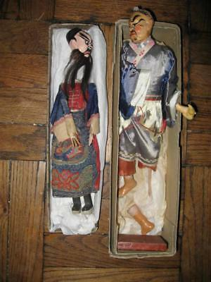 Pair Of Antique Chinese Paper Mache Dolls Puppets Embroidery Hand Painted