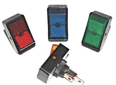 Rocker Switch 16A @ 12V Bulb Red Blue Green Amber Light Fits 12.5mm Round Hole