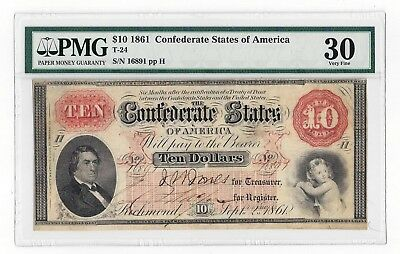 T-24 1861 Confederate States of America $10 Note - S/N 16891 PMG 30 Very Fine