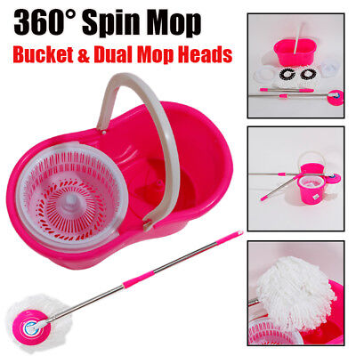 Microfiber Spinning Magic Spin Floor Mop Bucket 2 Head 360° Rotating Deep Clean