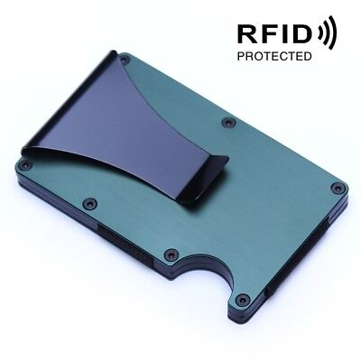 RFID Blocking Slim Ridged Edge ID Card Holder Wallet with Money Clip Anti Thief