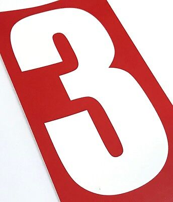 Set of 4 White Race Number 3 Red Background | Rotax TKM Kart