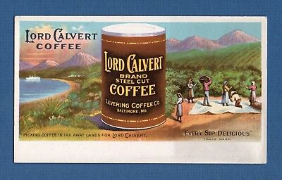"""LORD CALVERT COFFEE Ink Blotter - 3½""""x6"""", Levering Co, Baltimore MD, Great Cond"""