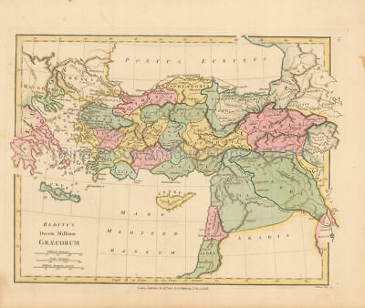 Ancient Greece Turkey  Antique Map Wilkinson 1815 Original