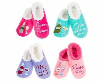 Ladies Slipper Snoozies! Fun Boozie Designs Ideal Gift - Wine Gin Prosecco