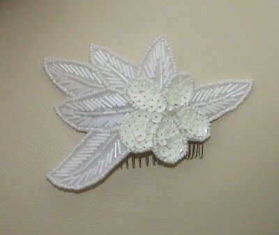 Cream Ivory Sequin Hair Comb 1920s Great Gatsby Flapper Vtg Fascinator 30s 6509