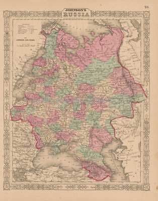 Russia Antique Map Johnson 1863 Original