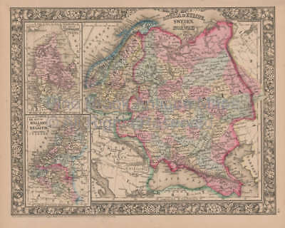 Russia in Europe Vintage Map Mitchell 1864 Original