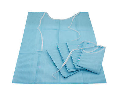 Disposable Bibs, Blue Medicinal & Dental Dentist Lab Waterproof, HIGH QUALITY