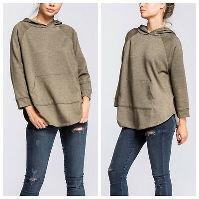 a05fa570508 Women s 3 4 Sleeve Raglan Hoodie Tunic Sweatshirt Knit Top Kangaroo Front  Pocket. TheMogan Casual Oversized Crew Neck Sweatshirts Loose ...