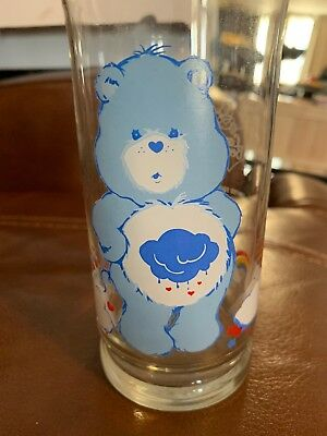 Vtg Care Bear Rare Grumpy Bear Pizza Hut Glass Collector's Series 1983 Promo