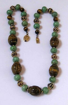 Vintage Chinese Carved Tiger's Eye Turquoise Enamel Beaded Necklace 22""