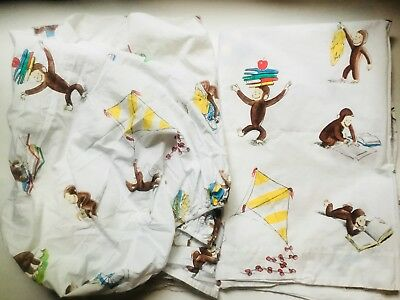 Pottery Barn Kids Curious George Toddler Bed Crib Fitted And Flat Sheet Set