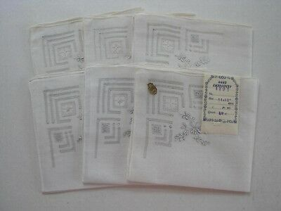 6 Handkerchiefs Hong Kong Hand Embroidered Women's Vintage Hanky