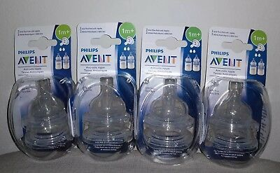 NEW 8 Count Lot: Philips Avent Nipples, Slow Flow, Anti Colic 1m+ (4 Two packs)