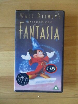 Fantasia VHS Walt Disney Masterpiece VHS VIDEO CASSETTE - Collectors Item