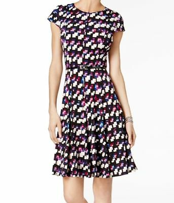 8b433f7cc63 Jessica Howard Women s Dress A-Line Printed Belted Plus Size 14W MSRP  79.00