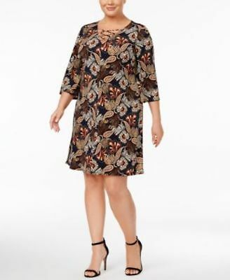 bec0164374 Jessica Howard Women s Dress Shift Printed Lace-Up Plus Size 22W MSRP  79.00