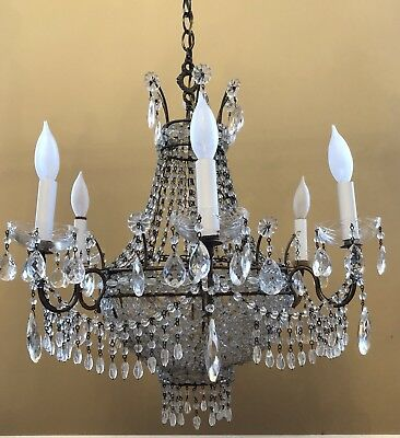 Antique French Rock Crystal Woven Beaded Basket Directoire Chandelier
