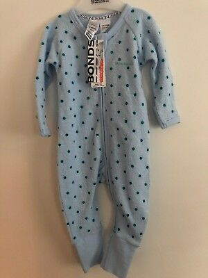 Bonds Baby Zip Wondersuit/babygrow Nwt Light Blue Terry Unisex All Sizes