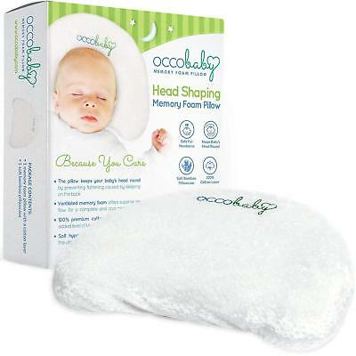 OCCObaby Baby Head Shaping Memory Foam Pillow  Cotton Cover  Bamboo Pillowcase