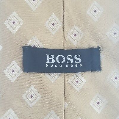 "Hugo Boss Men's Gold Geometric  Silk Neck Tie 58"" L 3.5"" W Made in Italy"
