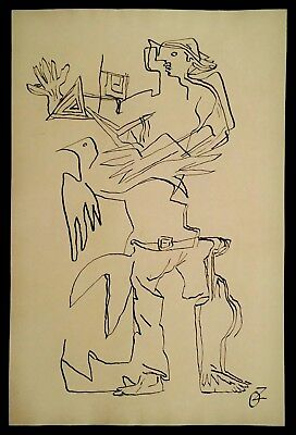 Ink drawing on paper, abstract figure, signed O. Zadkine, Lot 008