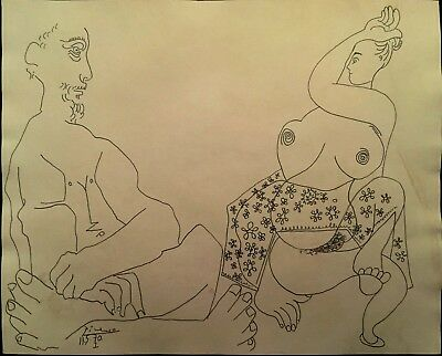 Pencil drawing on paper, Seated nude man and damsel signed Picasso