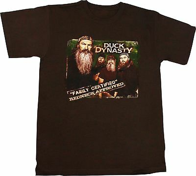 "Duck Dynasty ""Family Certified Redneck Approved"" Men's Brown T-Shirt"""