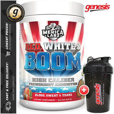 Merica Labz - Red White & Boom - Extreme Energy Pump Pre-Workout PWO + FREE Gift
