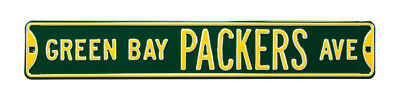 "Green Bay Packers Ave. Green 6"" x 36"" NFL Metal Street Sign"""