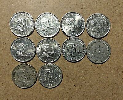 Philippines, 1 Piso coins, lot of 12 different years