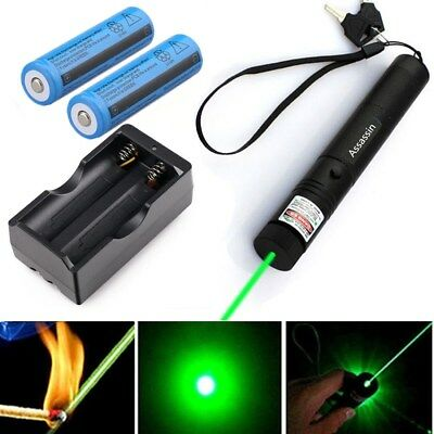 Assassin 30Miles Green Laser Pointer 532nm Lazer Beam 2x 18650 Battery +Charger