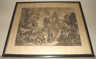 William Hogarth Antique Engraving Southwark Fair [or Humours of a Fair] Framed