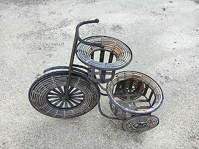 Vintage Metal & Wicker Tricycle Plant Stand Planter Garden Flowers