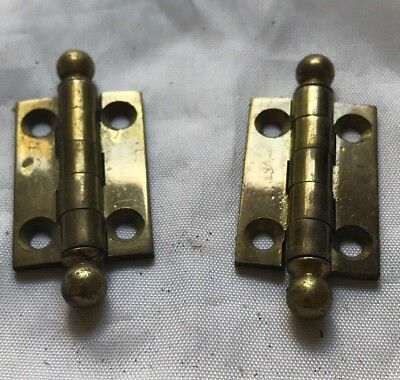 """THE BUY IT NOW PRICE IS FOR ONE HINGE - Antique Brass Hinge Hardware 1 1/2"""" x 1"""""""