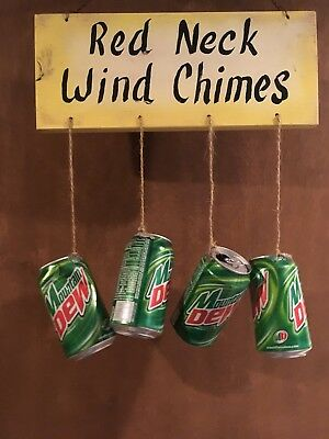 Collectable Mountain Dew Redneck Wooden Sign With Attached Wind chimes Man Cave!