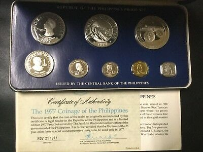 1977 Philippines Silver Proof Coin Set (8 Coins)!