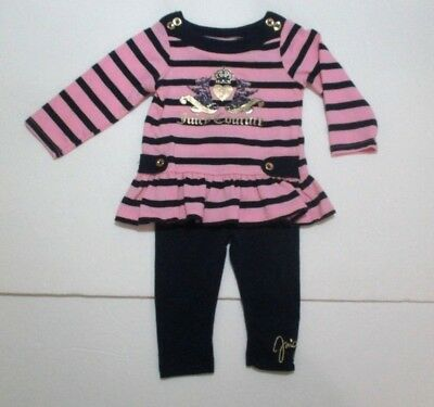 Infant Girls Juicy Couture Pink Gold & Navy Blue Striped Leggings Outfit 3-6 Mon