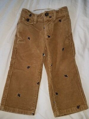 Baby GAP bear embroidered tan corduroy pants 2T EUC!