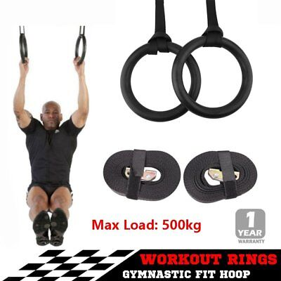 Gymnastic Rings Pair Gym Hoop Crossfit Exercise Fitness Home Ab Workout Dip BOY