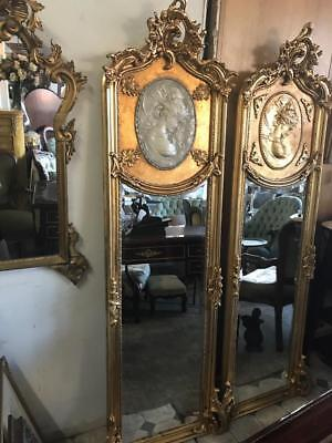 Tall Antique Baroque French Cameo Trumeau Pier Gold Floor Huge 3 Day Mirror Sale