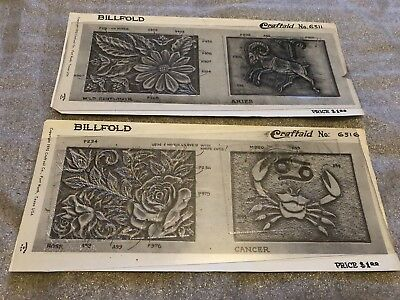 VTG Craftaid Leather Craft Billfold Pattern Horoscope Sign Cancer & Aries