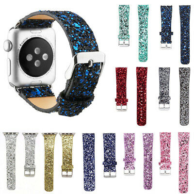 Fit Apple Watch Series 3 2 1 iWatch Shiny Leather Glitter Bling Wrist Strap Band