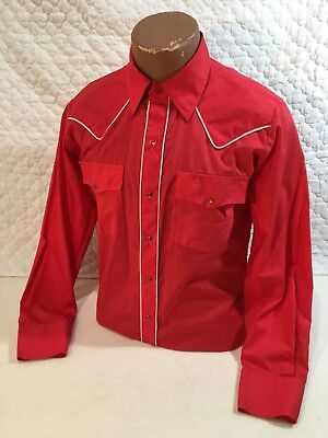 Vintage Silver Spur Western Button Down Shirt Mens Size Medium Red w/ Ribbing