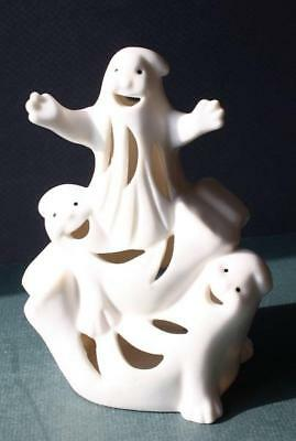 Ghosts 3 Figurine Ceramic-Porcelain Halloween Candle-Votive Holder-Decoration