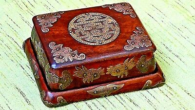 Antique Chinese Rosewood Shou Symbol&tray Decorated W/bats,koi Fish,batterflies