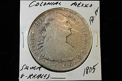 1805 Colonial Mexico Silver 8 Reales Coin Old
